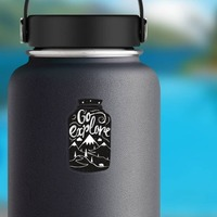 Go Explore Jar Sticker on a Water Bottle example