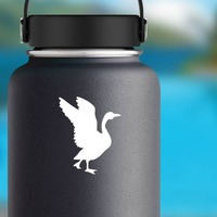 Goose Landing Sticker on a Water Bottle example