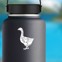 Goose Walking Sticker on a Water Bottle example