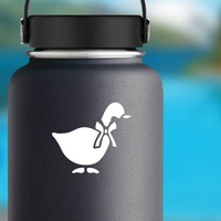 Goose With Bow Sticker on a Water Bottle example