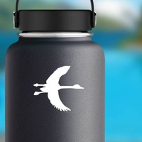 Goose With Long Neck Sticker on a Water Bottle example