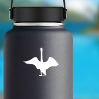 Goose With Wings Open Sticker on a Water Bottle example