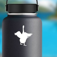 Goose With Wings Out Sticker on a Water Bottle example