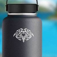 Gothic Heart Sticker on a Water Bottle example