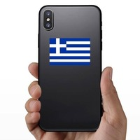 Greece Flag Sticker on a Phone example