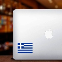 Greece Flag Sticker on a Laptop example