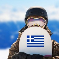 Greece Flag Sticker on a Snowboard example