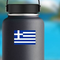 Greece Flag Sticker on a Water Bottle example