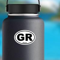 Greece Gr Oval Sticker on a Water Bottle example