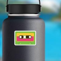 Green Cassette Tape Hippie Sticker on a Water Bottle example