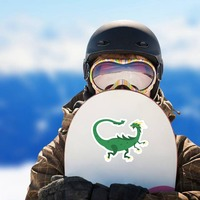 Green Spotted Drake Dragon Sticker on a Snowboard example