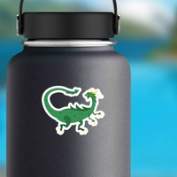 Green Spotted Drake Dragon Sticker on a Water Bottle example