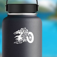 Grim Reaper On Flaming Motorcycle Bike Sticker on a Water Bottle example
