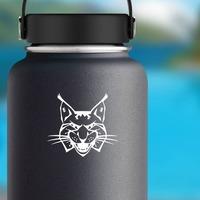 Growling Lynx Head Sticker on a Water Bottle example