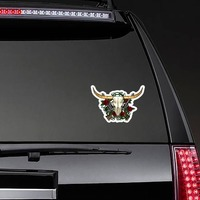 Guns And Roses Bull Cow Skull Sticker on a Rear Car Window example