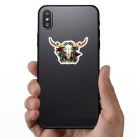 Guns And Roses Bull Cow Skull Sticker on a Phone example