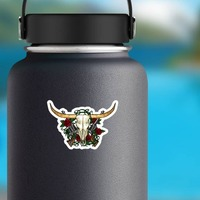 Guns And Roses Bull Cow Skull Sticker on a Water Bottle example