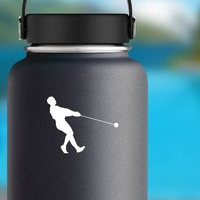 Hammer Throw Leaning Back Sticker on a Water Bottle example