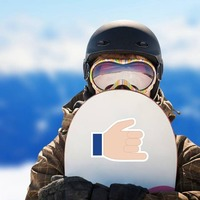 Hands Hang 10 Emoji Sticker on a Snowboard example