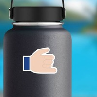 Hands Hang 10 Emoji Sticker on a Water Bottle example