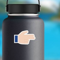 Hands Pointing With Two Fingers Thumb Up LH Emoji Sticker on a Water Bottle example
