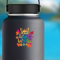 Hang Loose Hippie Sticker on a Water Bottle example