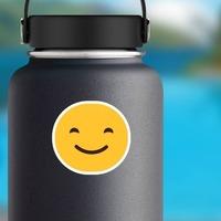 Happy Face Emoji Hippie Sticker on a Water Bottle example