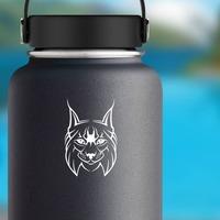 Happy Lynx Sticker on a Water Bottle example