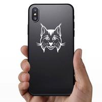 Happy Cartoon Lynx Sticker on a Phone example