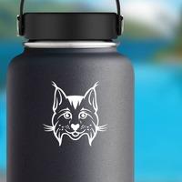 Happy Cartoon Lynx Sticker on a Water Bottle example