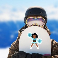Cartoon Cheerleader with Teal Pom Poms Sticker on a Snowboard example