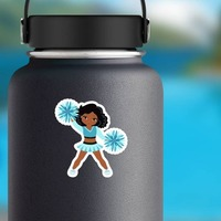 Cartoon Cheerleader with Teal Pom Poms Sticker on a Water Bottle example