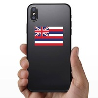 Hawaii Hi State Flag Sticker on a Phone example