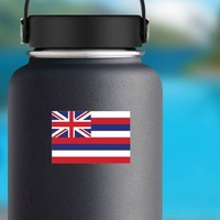 Hawaii Hi State Flag Sticker on a Water Bottle example