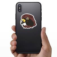 Hawk Head Mascot Sticker on a Phone example