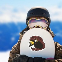 Hawk Head Mascot Sticker on a Snowboard example