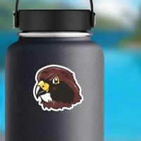 Hawk Head Mascot Sticker on a Water Bottle example