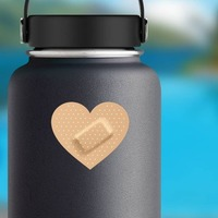 Heart Band Aid Bandage Sticker on a Water Bottle example