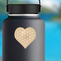 Heart Shaped Bandage Sticker on a Water Bottle example