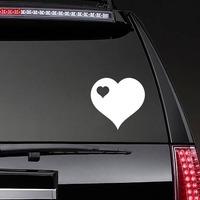 Heart With Little Heart Cut Out In Upper Left Corner Sticker on a Rear Car Window example