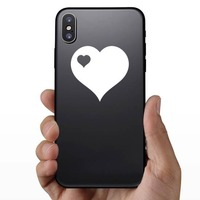 Heart With Little Heart Cut Out In Upper Left Corner Sticker on a Phone example