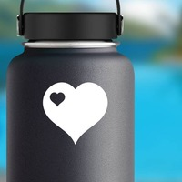 Heart With Little Heart Cut Out In Upper Left Corner Sticker on a Water Bottle example
