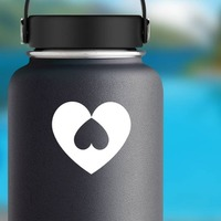 Heart With Upside Down Heart Sticker on a Water Bottle example
