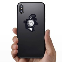 Hello Spaceman On Moon Sticker on a Phone example