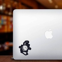 Hello Spaceman On Moon Sticker on a Laptop example