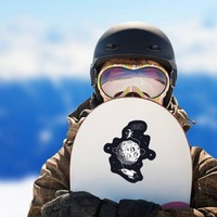 Hello Spaceman On Moon Sticker on a Snowboard example