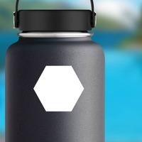 Hexagon Shape Sticker on a Water Bottle example