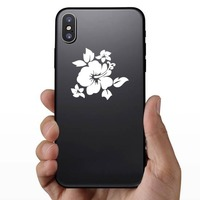 Hibiscus Flower With Little Flowers Sticker on a Phone example