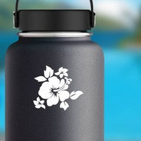 Hibiscus Flower With Little Flowers Sticker on a Water Bottle example