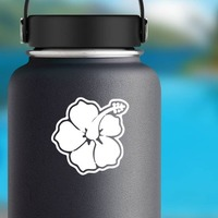 Hibiscus Flower With Outline Sticker on a Water Bottle example